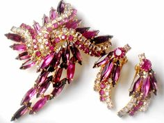 Confirmed Juliana Brooch Earrings Pink Purple Rhinestone Flower Layered Pin High Fashion DeLizza and Elster Demi Parure Collectable Jewelry. $89.99, via Etsy.