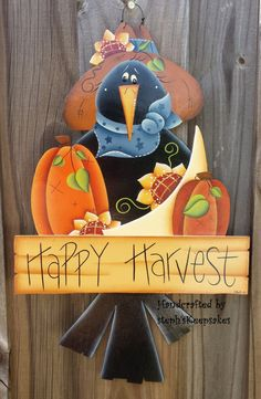 Happy Harvest Crow , Wall Hanging, Fall, Autumn,Seasonal, Home decor, Holidays