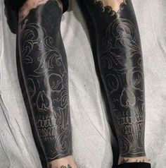 What does blackout tattoo mean? We have blackout tattoo ideas, designs, symbolism and we explain the meaning behind the tattoo. Skull Tattoos, Leg Tattoos, Body Art Tattoos, Sleeve Tattoos, Tattoos For Guys, Tattoo Legs, Tattoo Forearm, Arrow Tattoos, Word Tattoos