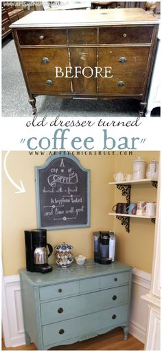 "Come see how I made a ""Coffee Bar"" out of an old antique, thrift store dresser (painted with Annie Sloan Chalk Paint & Graphics from The Graphics Fairy)."