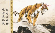 1pcs China Meticulous Tiger Painting Calligraphy Postcard Tiger Roaring #18
