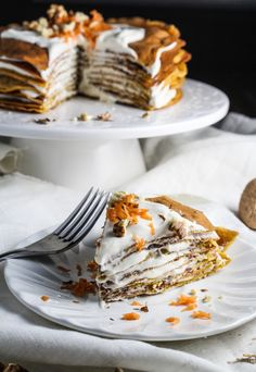 Crepes are one of my very favorite things to make. this would be so beautiful Carrot Cake Crepe Cake with Whipped Cream Cheese Sweet Desserts, Just Desserts, Sweet Recipes, Cupcakes, Cupcake Cakes, Cupcake Recipes, Dessert Recipes, Breakfast Desayunos, Brunch