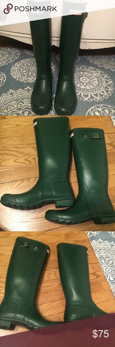 Green hunter rain boots size 10 F knee high Hardly worn! Some hardly noticeable scuff marks/ signs of wear (see photos) but good condition!!! Hunter Boots Shoes Winter & Rain Boots