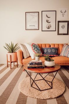 Styling the Most Versatile Rug of All Time Decor, Decorating Blogs, Living Room Furniture, Versatile Rug, Boho Living Room, Living Room Orange, Felt Ball Rug, Home Decor, Rugs In Living Room