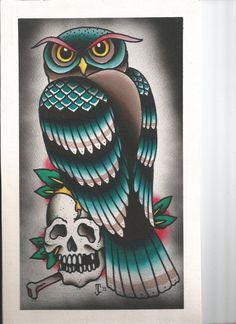Owl Tattoo Watercolor Flash Print by jamescolesart on Etsy