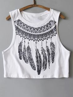 Feather Print Cropped Tank Top - WHITE L