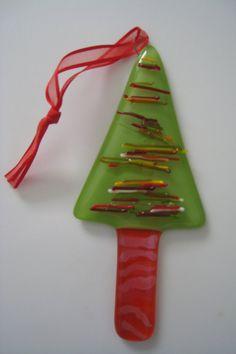 Christmas Tree Ornament/Suncatcher COE 96 by monkiplay on Etsy