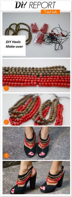 Add pop to an old pair of heels by adding strands of beads, this would be a great use for Mardi Gras Beads for a pair of party shoes! #shoesdiyheels
