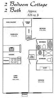 2 Bedroom 2 Bath Cottage Plans | Two Bedroom Two Bath Cottage 2 2 $ 865