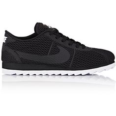 Nike Women's Cortez Ultra BR Sneakers (135 AUD) ❤ liked on Polyvore featuring shoes, sneakers, black, black shoes, lace up flat shoes, black trainers, black sneakers and flat shoes