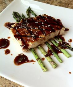Hoisin glazed grilled tofu and asparagus