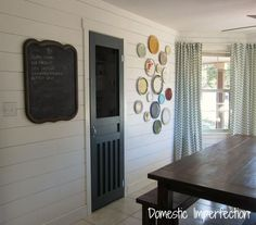 love the hanging wall plates and the DIY Pantry Screen Door
