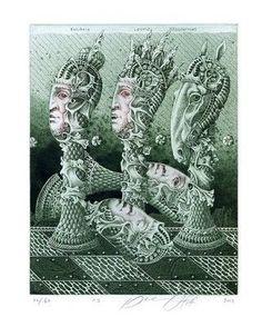 Chess, Surrealistic Ex libris Etching by Juri Jakovenko, Belarus