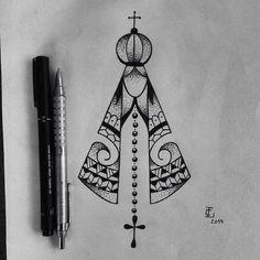 Tattoo idea Rosa Tattoo, I Tattoo, Santas Tattoo, Body Art Tattoos, Tatoos, Religious Cross, Mandala Dots, Pretty Tattoos, Couple Tattoos
