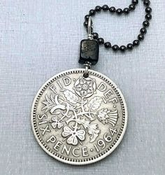 1953 - 1967 English Scottish Irish COIN NECKLACE - lucky wedding six pence - Tudor Rose - Shamrock - Scottish Thistle - Welsh - coin jewelry