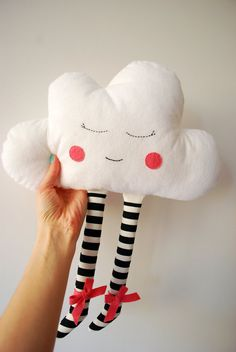 Cloud Doll  Plush Pillow Hand Embroidered Face by Jobuko on Etsy, $20.00