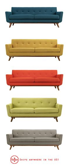 This Midcentury-style sofa comes in so many gorgeous colors!