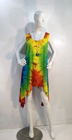 Rainbow tie dye tunic tank in rayon fabric. by qualicumclothworks on Etsy Tie Dye Tops, Tie Dyed, Capri Leggings, Rainbow Colors, Cotton Spandex, Tunic, Stylish, Fabric, How To Wear