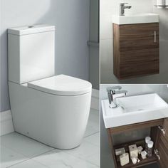 Lyon Toilet & 400mm Slimline Wall Hung Basin Cabinet Cloakroom Set - Walnut