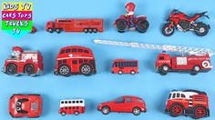Welcome to Kids TV Cars Toys Trucks Channel In this video we will be teaching kids red color with vehicles such as bus car truck sports car bike fire en...