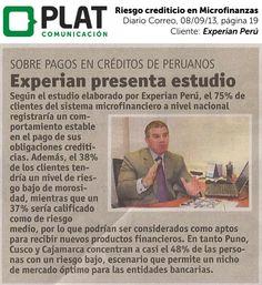 Experian: Presentación de Estudio de Riesgo en Microfinanzas en el diario Correo de Perú (08/09/13)