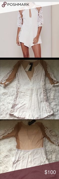 For Love & Lemons Valentina Romper Beautiful romper purchased for a bridal shower but didn't come in time. Super cute sheer back and sleeves For Love and Lemons Pants Jumpsuits & Rompers