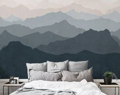 Mountain Mural oversized wall art peel & stick wallpaper printed onto adhesive backed fabric that can be removed, repositioned and reused over and over again. Mountain Wallpaper, Fabric Wallpaper, Peel and Stick Wallpaper Scenic Wallpaper, Wall Art Wallpaper, Mountain Wallpaper, Mural Wall Art, Wallpaper Panels, Fabric Wallpaper, Forest Wallpaper, Kids Wallpaper, Bedroom Murals