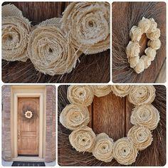 Burlap sack wreath and other cute tutorials. I love this, and it would be cheap since I can get an unlimited amount of burlap sacks for free :)