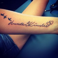Tattoo kids names birds hearts psalms