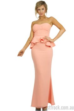 Cinderella Story Maxi Dress in Peach $35.00  Flourish into a modern day princess by your own right in this beautiful long dress. It's a simple, sexy and modern piece featuring a bustier style top that keeps your décolletage safe and secure. The peplum feature works extremely well with the slightly flared skirt detail, creating a very feminine shape for the wearer. A low soft bun and a gorgeous pair of earrings like the Samantha Wills Heart Beats in the Sun Earrings in Gold would make this a…