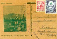 """Ansichtskarte: Kranj, panoramo Esperanto-Postkarte herausgegeben von der """"Slovenia Esperanto-Ligo"""" Datierung 1953"""