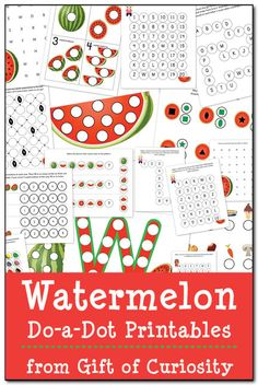 Watermelon Do-a-Dot Printables: 19 pages of watermelon do-a-dot worksheets that will help kids practice one-to-one correspondence, shapes, c. Letter W Activities, Kids Learning Activities, Picnic Activities, Baby Learning, Montessori Activities, Summer Activities, Free Preschool, Preschool Worksheets, Preschool Ideas