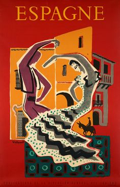 Vintage Travel Capturing the traditional Flamenco in this Vintage Spain Travel Poster by Villemot from 1953 Old Posters, Retro Poster, Poster S, Vintage Travel Posters, Poster Prints, Art Prints, Party Vintage, Vintage Ads, Spain Travel