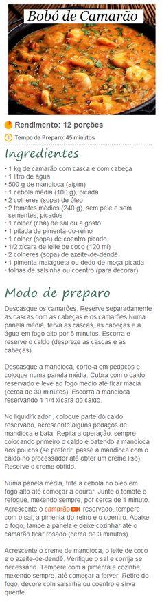 Bobó de Camarão. Fish Recipes, Seafood Recipes, Cooking Recipes, Healthy Recipes, Food N, Good Food, Food And Drink, Exotic Food, Portuguese Recipes