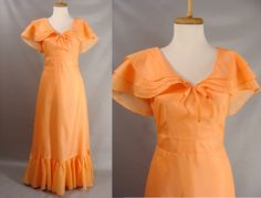 $72.22 as is. vintage 70s Dress. 40s Style Orange Satin WWII Formal Ball Gown. OR Customizable Zombie Costume. Size M 6 8 by wardrobetheglobe on Etsy