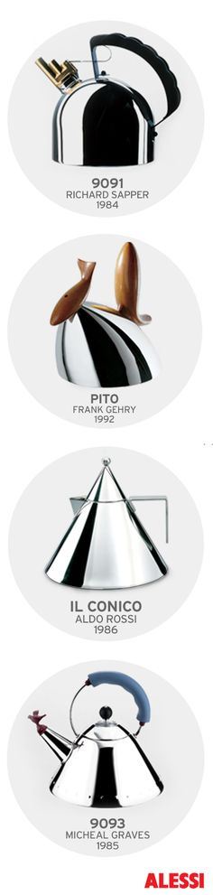 9091 kettle designed by Richard Sapper; Pito kettle designed by Frank Gehry; Il Conico kettle designed by Aldo Rossi; 9093 kettle designed by Michael Graves Chair Design, Furniture Design, Michael Graves, Design Theory, Id Design, Kitchen Stove, Shops, Alessi, Tea Set