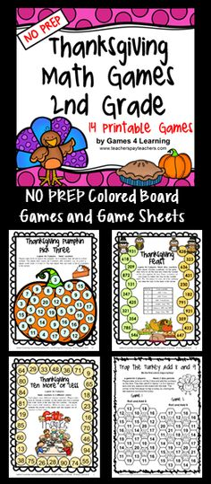 Thanksgiving Math Games 2nd Grade - NO PREP board games and print and play math game sheets. $