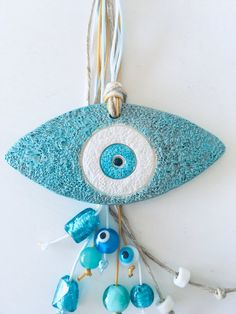 Evil eye charm eye decoration good luck charm gift for friend ceramic evil eye ceramic wall hanging lucky charm art ceramic charms Cute Gifts For Friends, Handmade Gifts For Friends, Instant Beauté, Evil Eye Art, Talisman, Lucky Charm, Gifts For Father, How To Make Beads, Unique Gifts