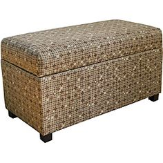 @Overstock.com - Class Mushroom Tonal Brown Storage Bench - This classic indoor storage bench features a lovely dot pattern in neutral colors that will match any color scheme. Store board games, blanket, toys, craft supplies, and many other items in this spacious container. It also works well for extra seating.  http://www.overstock.com/Home-Garden/Class-Mushroom-Tonal-Brown-Storage-Bench/6359296/product.html?CID=214117 $69.99