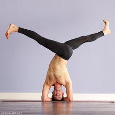 Parivrttaikapada Sirsasana (Revolved Split-Legged Headstand). Learn how: www.yogajournal.com/practice/2748