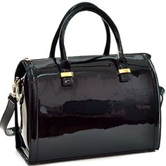Dasein Shiny Patent Faux Leather Barrel Body Satchel Handbag Shoulder Bag Black ** Find out more about the great product at the image link.