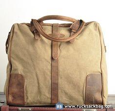 $79.99 Canvas Shoulder Bag For Men Canvas Cross Body Bag Khaki Bag