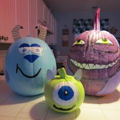 Monsters Inc. Painted Pumpkin Mike Wazowski Sully Boo ...