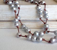 Long Pearl Necklace Knotted on Greek Leather, Gray Freshwater Pearls Strung on Distressed Brown Greek Leather, Bohemian Layering Necklace
