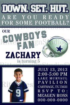 Dallas Cowboys Football Birthday Invitation - Digital File/Printable