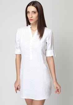 Roll Up Sleeve Light Blue Linen Dress - Mksp - Buy Women&-39-s Dresses ...