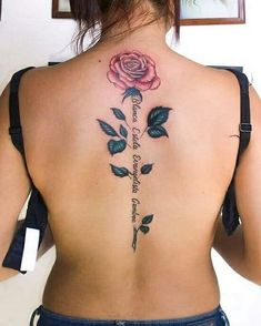 More of Rose Tattoo Designs For Your Desire About Floral Tattoo Flower Spine Tattoos, Back Tattoos Spine, Rose Tattoo On Back, Back Tattoo Women Spine, Ribbon Tattoos, Tattoo Spine, Tattoo Neck, Butterfly Tattoos, Sleeve Tattoos