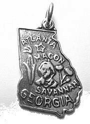 atlanta georgia state map usa sterling silver charm Real Sterling silver 925 pendant Charm jewelry. $13.55, via Etsy.