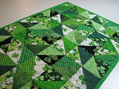 Quilted Table Runner, St. Patrick's Day Table Mat, Small Scrappy Table Runner, Shamrock Table Mat, Quiltsy Handmade by VillageQuilts on Etsy