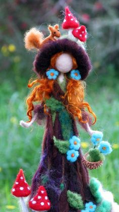 Needle felted tree guardian waldorf inspired art doll Forest fairy with red squirrel Waldorf fairy Home decorationFantasy doll Fairy Crafts, Felt Crafts, Felt Angel, Felt Tree, Needle Felting Tutorials, Felt Fairy, Tiny Dolls, Waldorf Dolls, Felt Dolls